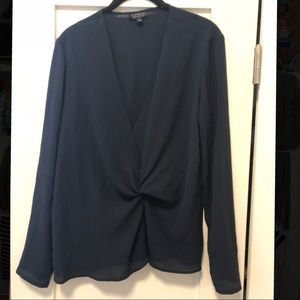 Topshop Twist Front Long Sleeve Blouse